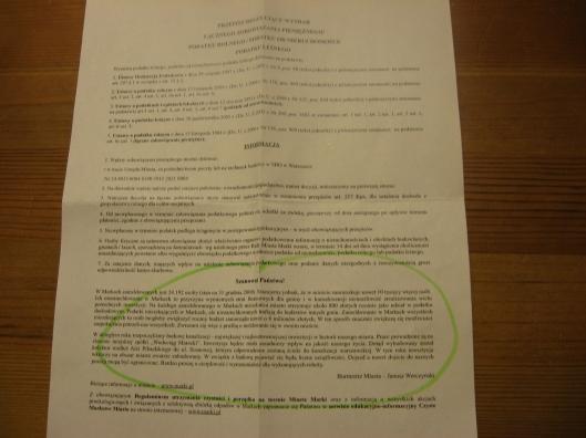 pismo od burmistrza